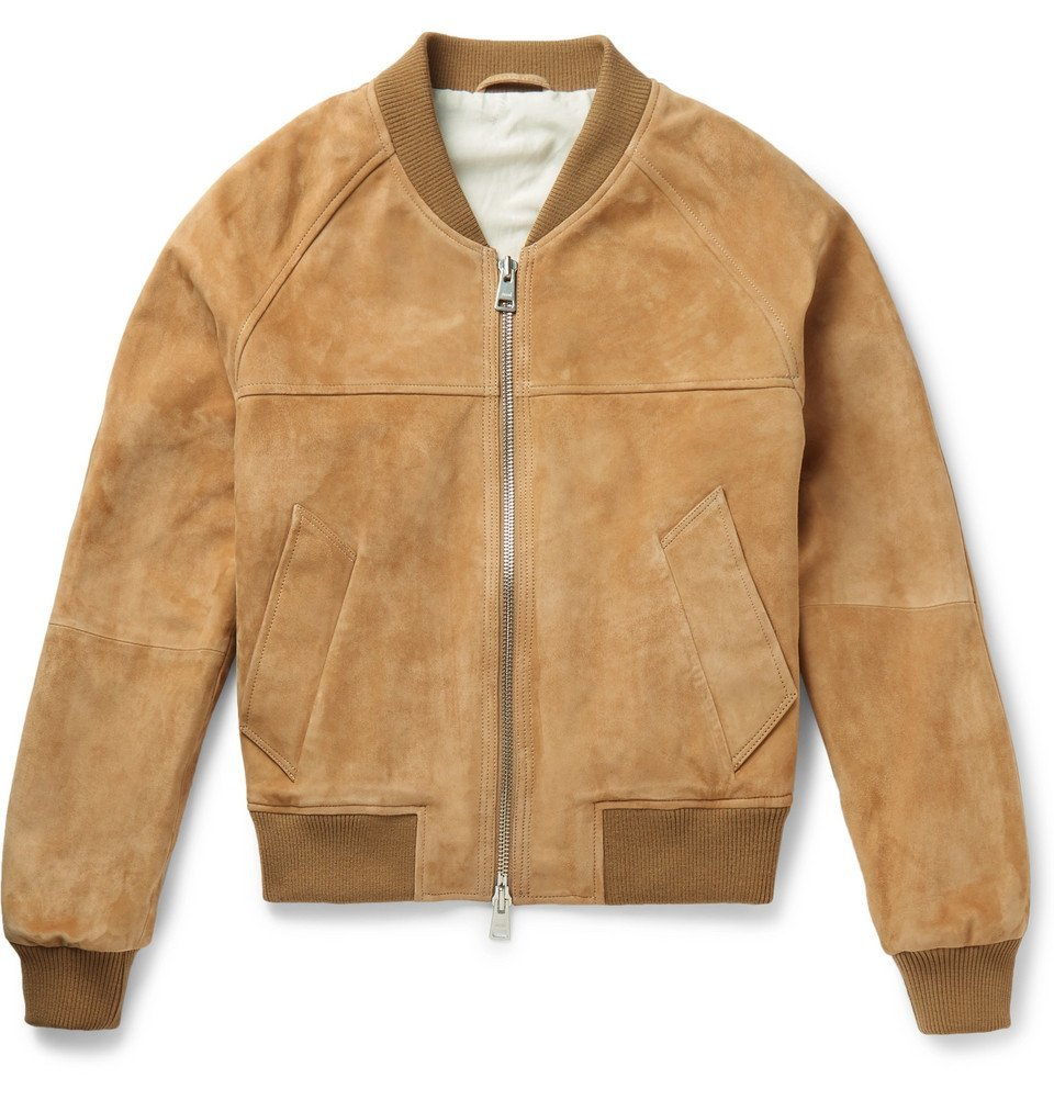 Photo: AMI - Suede Bomber Jacket - Brown