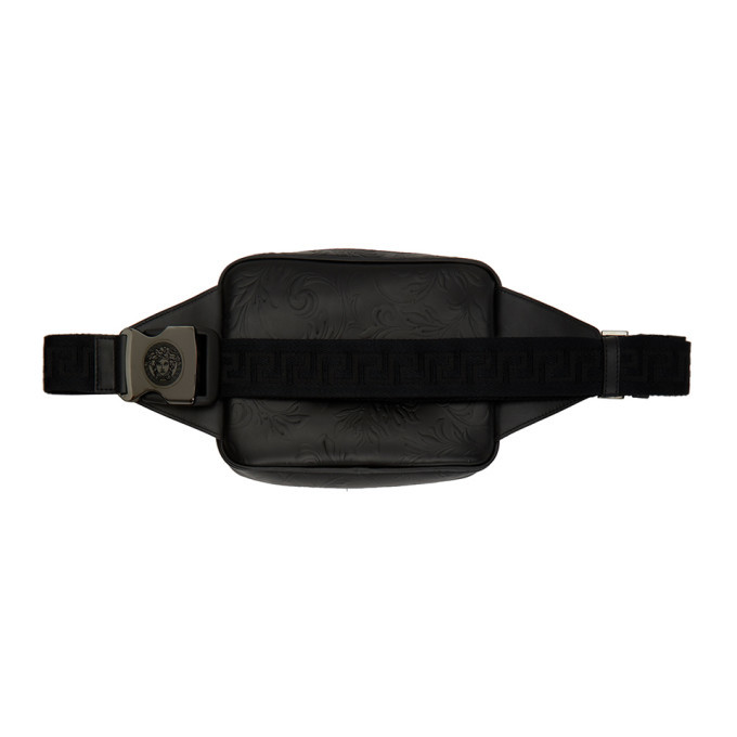 Versace Black Embossed Barocco Fanny Pack