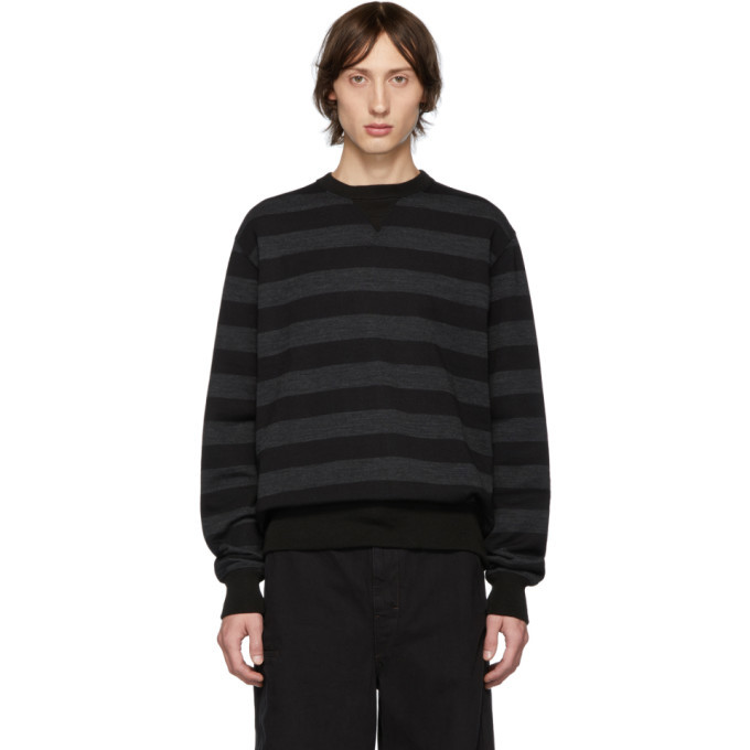 Photo: Junya Watanabe Black and Grey Striped Crewneck Sweater