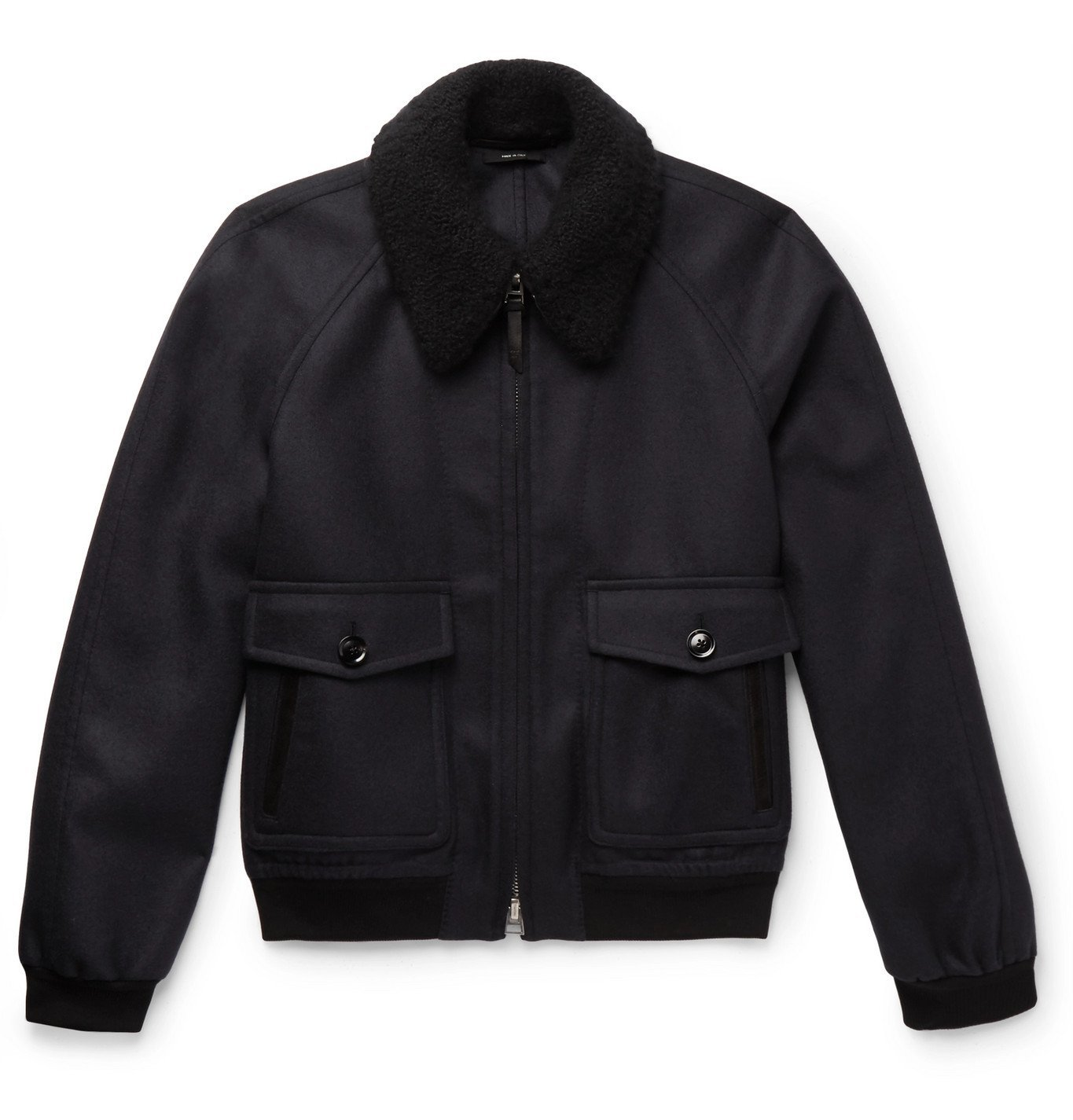 Photo: TOM FORD - Cashmere and Silk-Blend Trimmed Wool-Felt Bomber Jacket - Blue