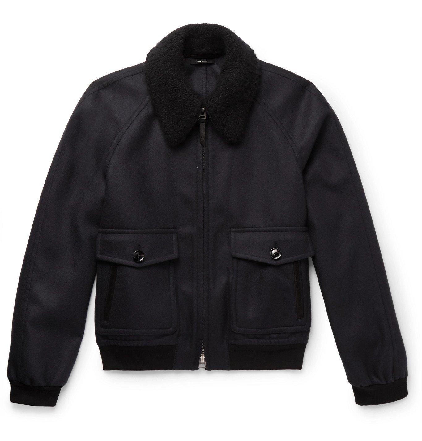 TOM FORD - Cashmere and Silk-Blend Trimmed Wool-Felt Bomber Jacket - Blue