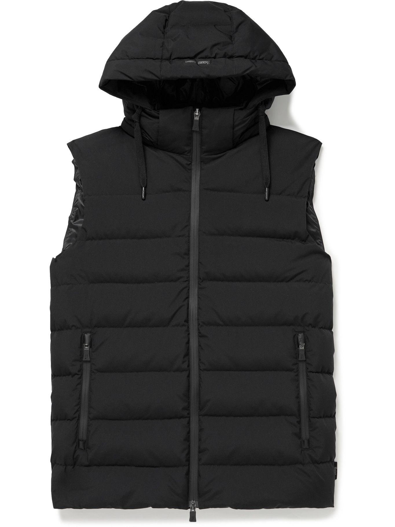 Photo: Herno Laminar - Slim-Fit Quilted GORE-TEX WINDSTOPPER Hooded Down Gilet - Black