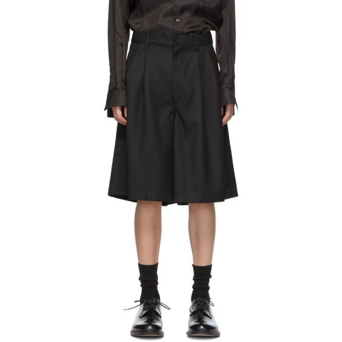 Photo: Comme des Garcons Shirt Black Carded Wool Gabardine Shorts