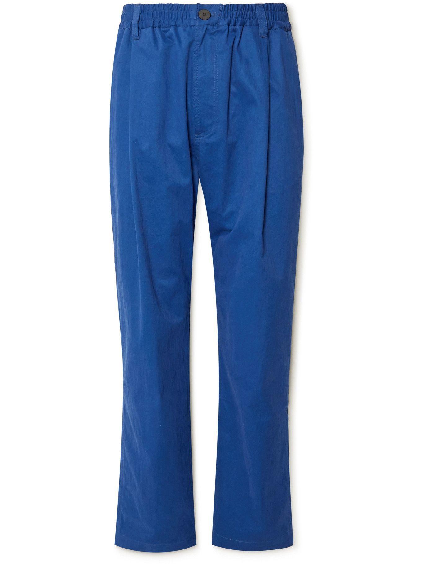 Photo: Studio Nicholson - Bryd Straight-Leg Pleated Cotton-Blend Twill Trousers - Blue