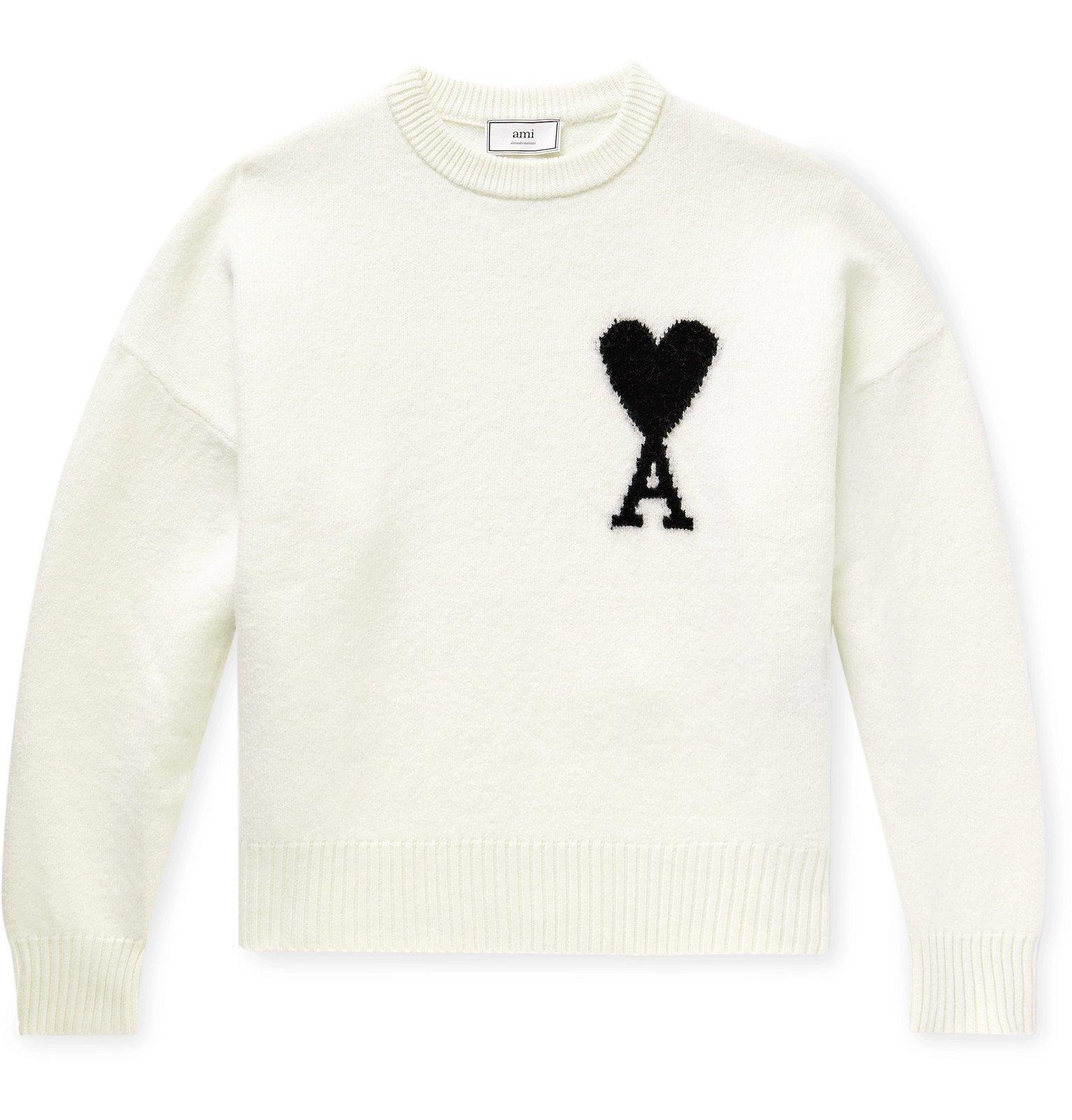Photo: AMI - Oversized Logo-Intarsia Virgin Wool Sweater - Neutrals