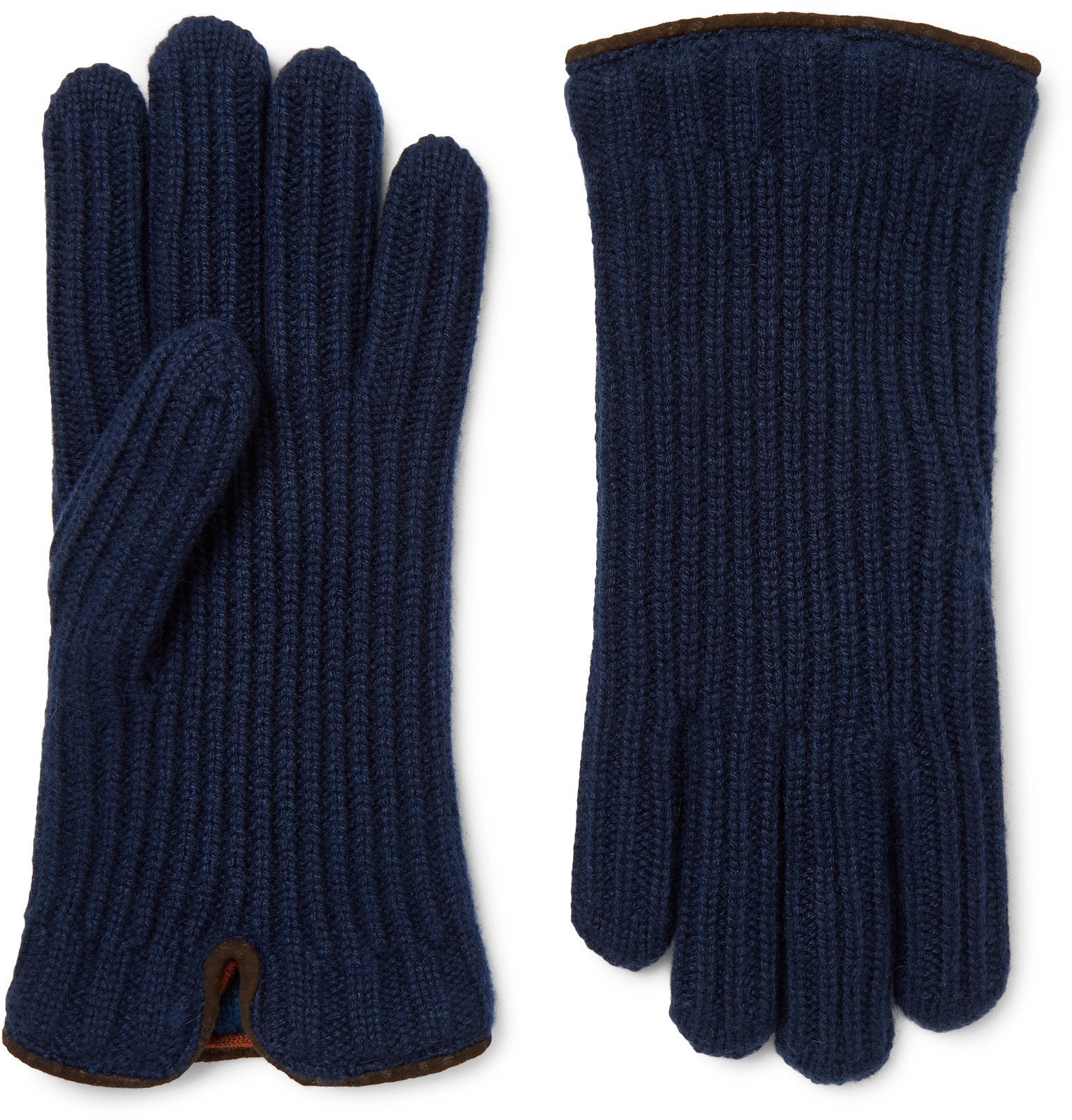 Photo: Loro Piana - Leather-Trimmed Ribbed Cashmere Gloves - Blue