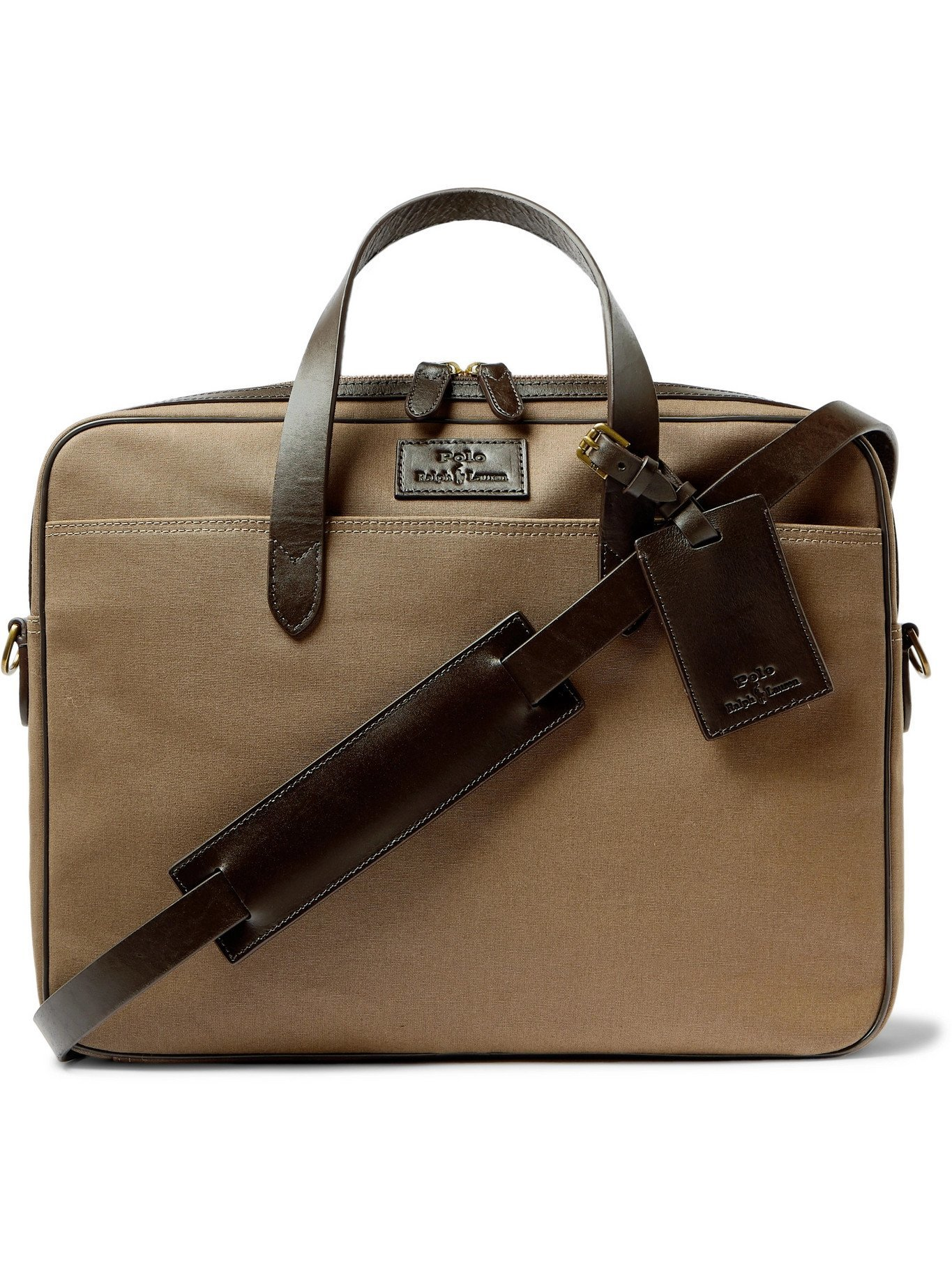Photo: POLO RALPH LAUREN - Leather-Trimmed Canvas Briefcase - Brown