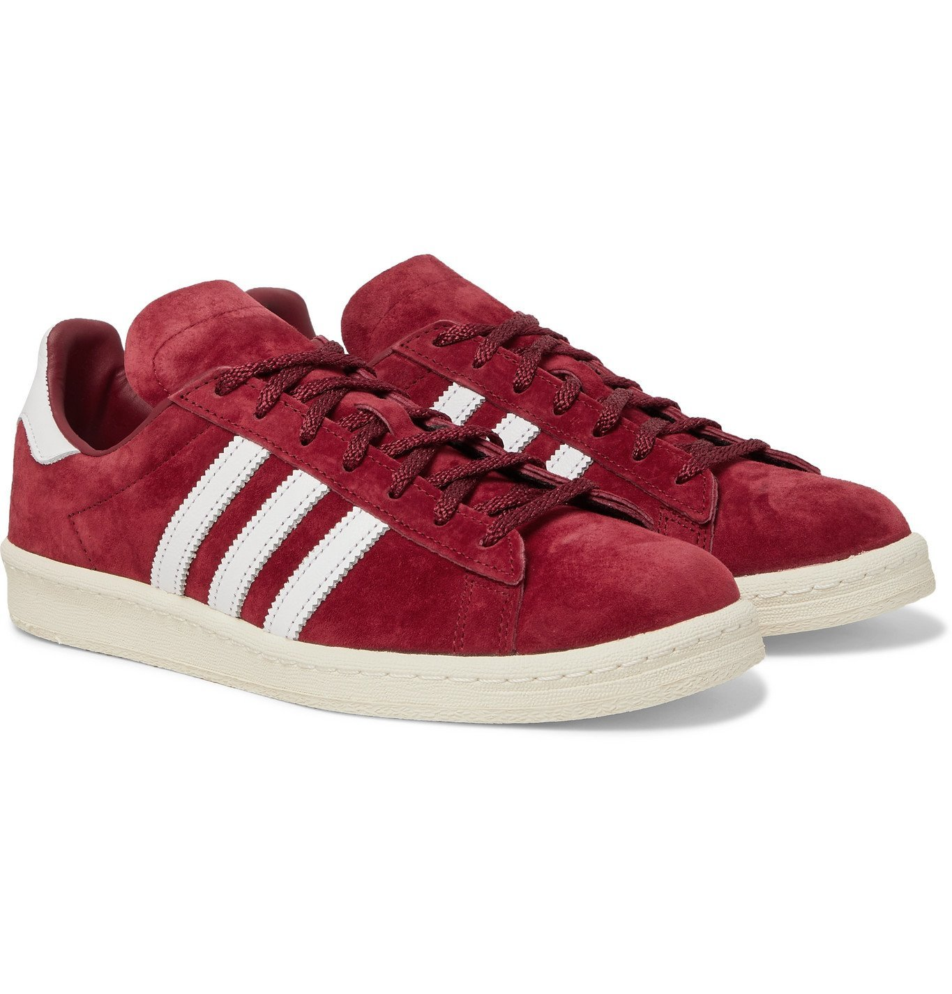 ADIDAS ORIGINALS - Campus 80s Leather-Trimmed Suede Sneakers - Burgundy