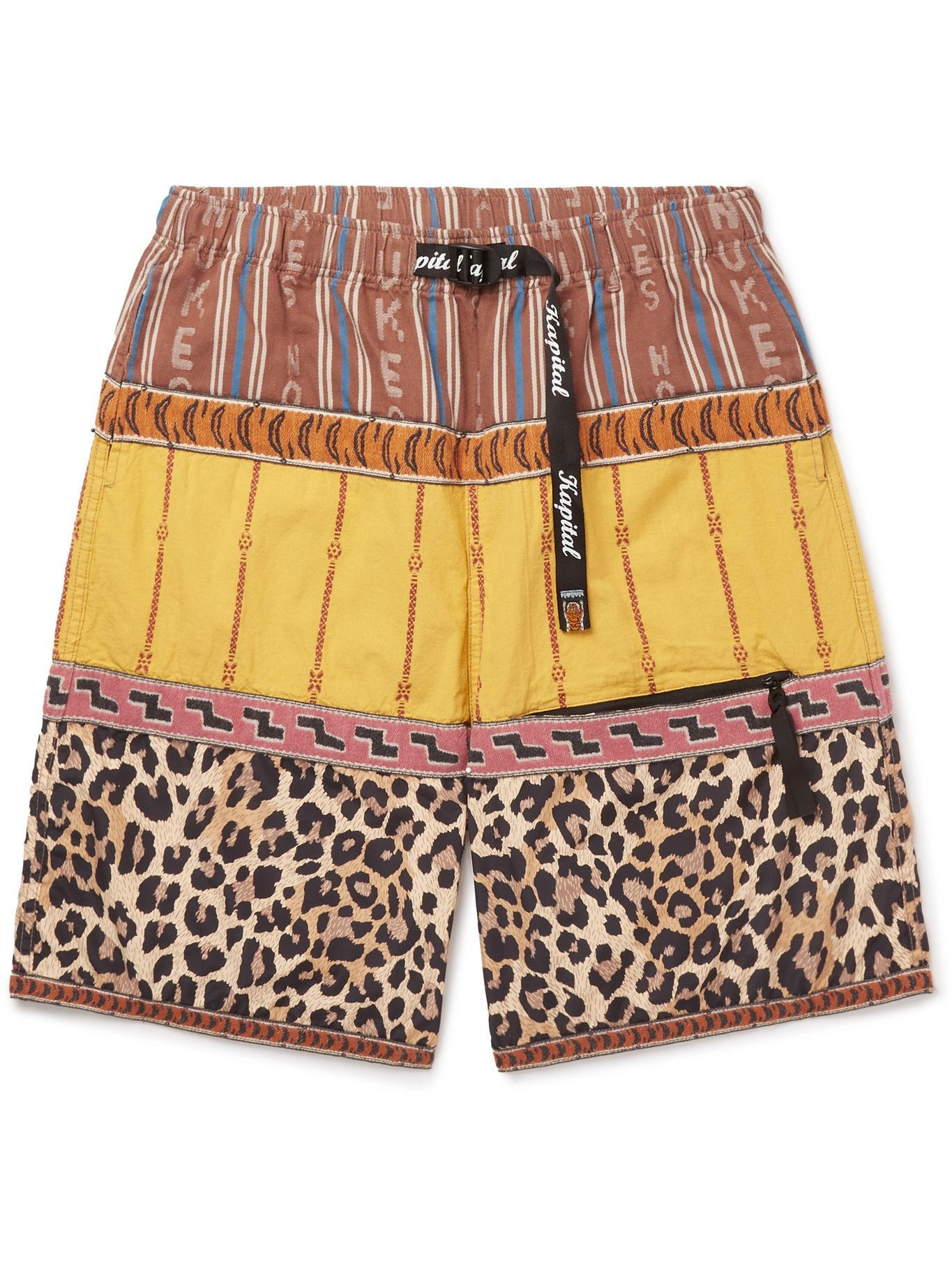KAPITAL - Wide-Leg Patchwork Poplin Shorts - Yellow
