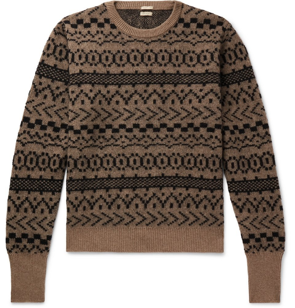 Photo: Massimo Alba - Cashmere, Mohair and Silk-Blend Jacquard Sweater - Brown