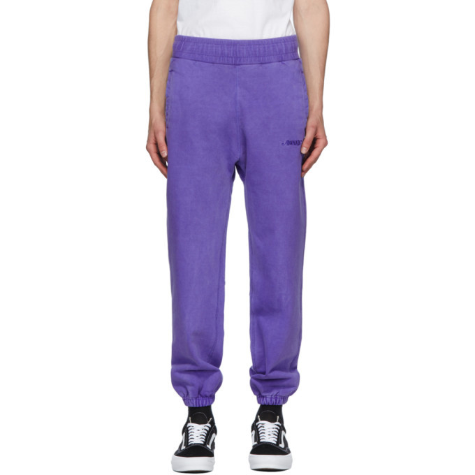 Photo: Awake NY Purple Embroidered Logo Lounge Pants