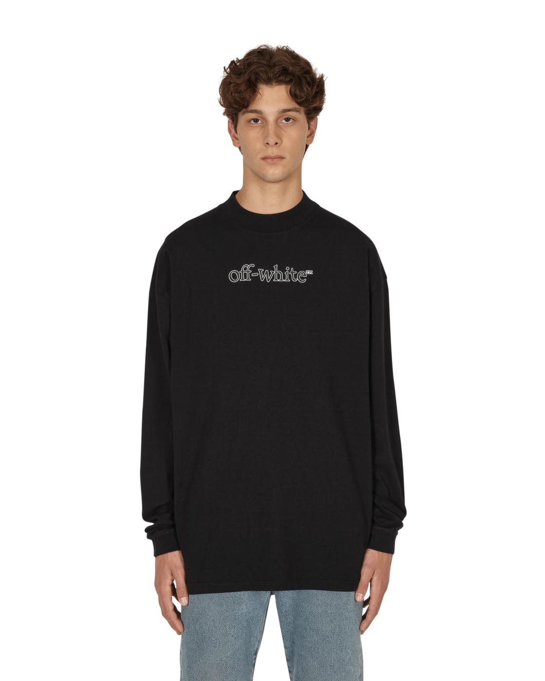 Photo: Off White Slanted Logo Over Mockneck Longsleeve T Shirt Black White
