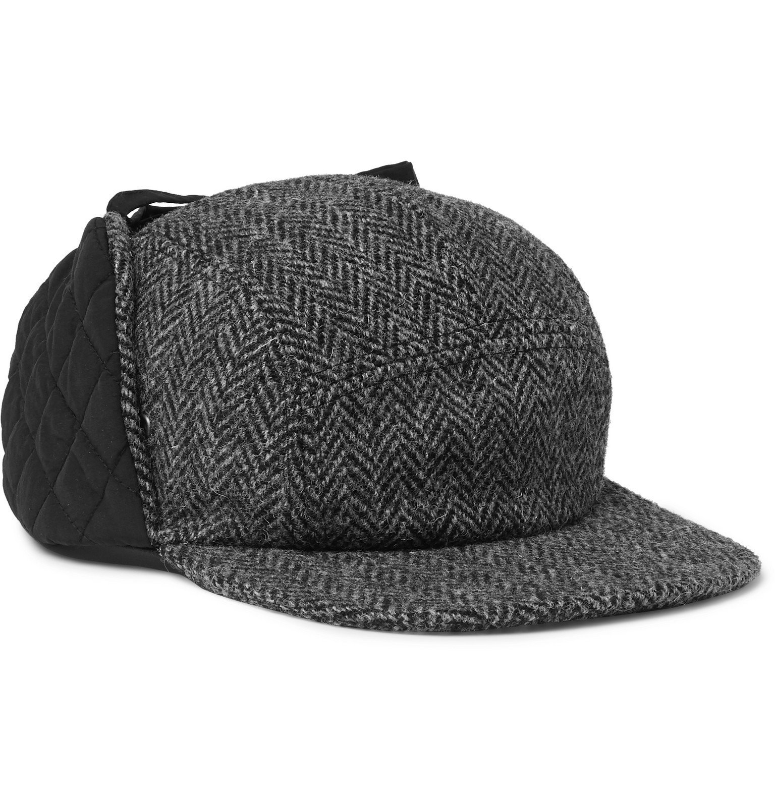 Photo: Beams Plus - Quilted Twill and Harris Tweed Trapper Hat - Gray