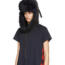 Sacai Black and Navy Faux-Fur Hat
