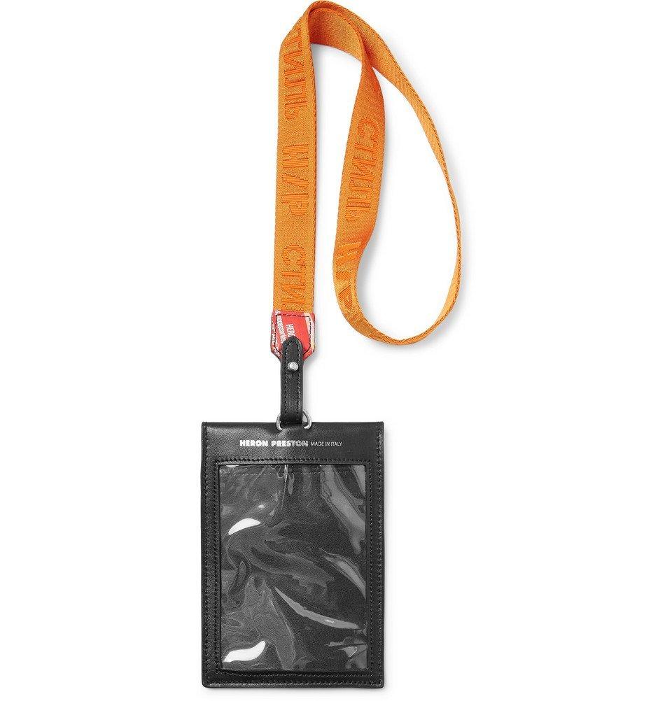 Photo: Heron Preston - Printed Leather and Logo-Jacquard Webbing Passport Holder - Men - Black
