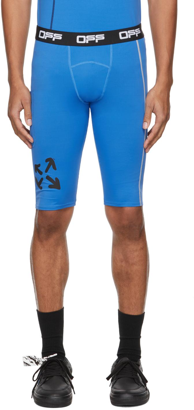 Photo: Off-White Blue Active Logo Compression Shorts