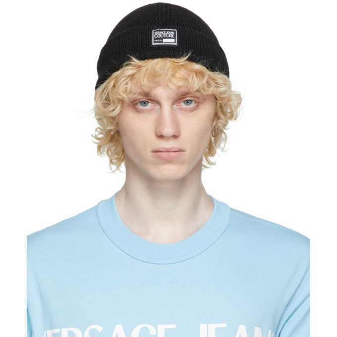 Photo: Versace Jeans Couture Black Rib Knit Logo Beanie