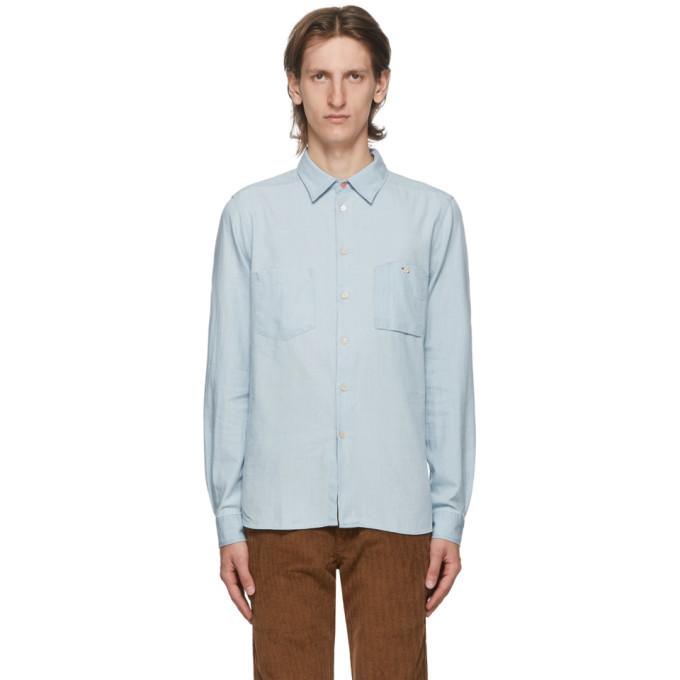 Photo: PS by Paul Smith Blue Cotton and Linen Chambray Tailored Shirt