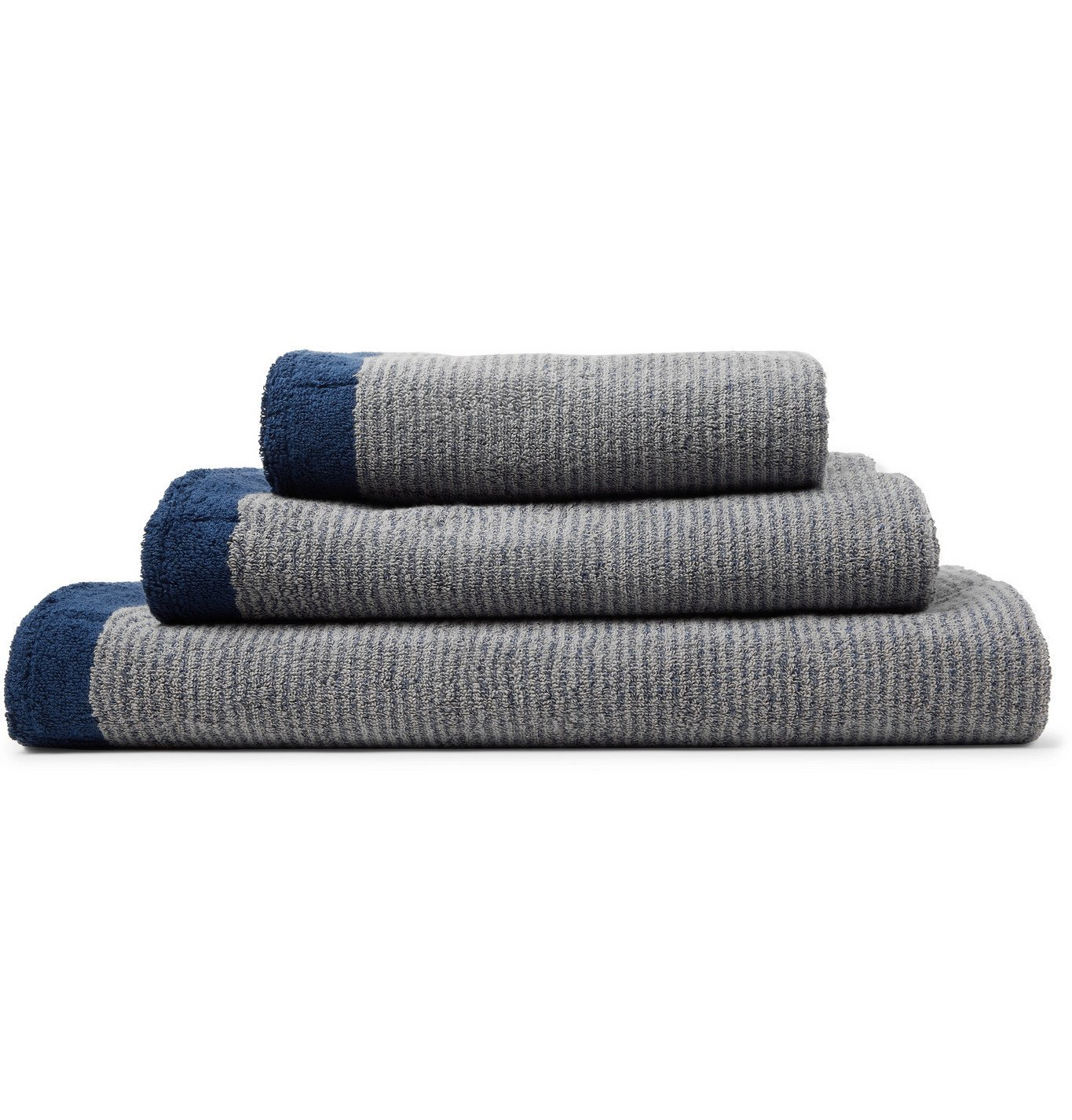 Photo: Cleverly Laundry - Set of Three Striped Cotton-Terry Bath Towels - Blue