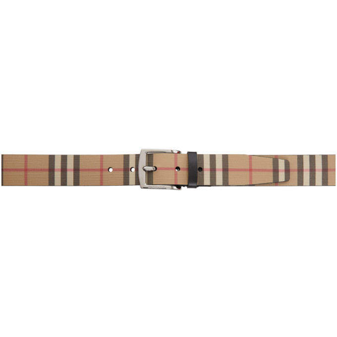 Photo: Burberry Beige E-Canvas Vintage Check Belt