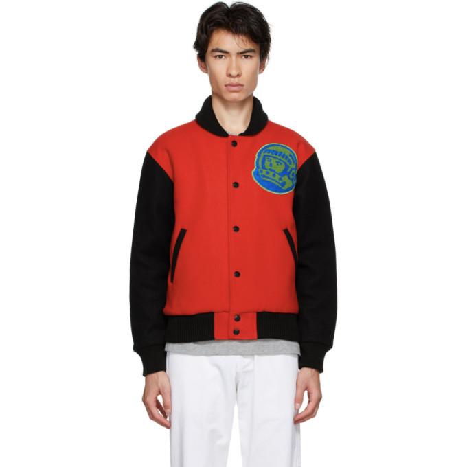 Photo: Billionaire Boys Club Red and Black Mountain Logo Bomber Jacket