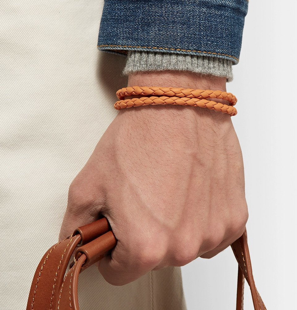 Tod's - Woven Leather and Silver-Tone Wrap Bracelet - Men - Orange