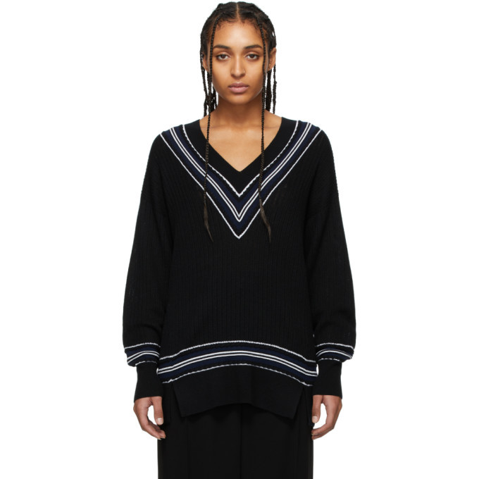 Photo: rag and bone Black Merino Dianna V-Neck Sweater