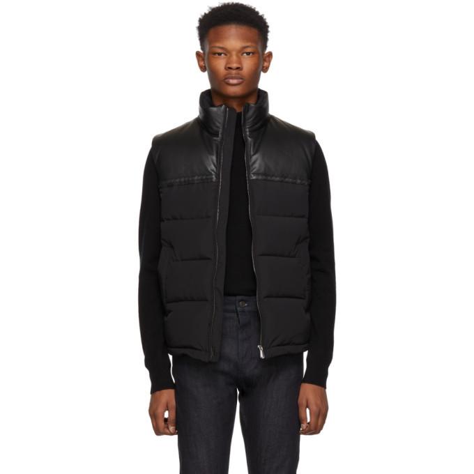 Bottega Veneta Black Leather and Nylon Down Vest