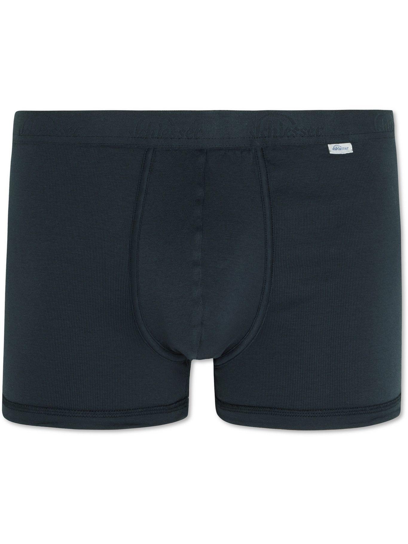 SCHIESSER - Ribbed Stretch-Cotton Jersey Boxer Briefs - Blue