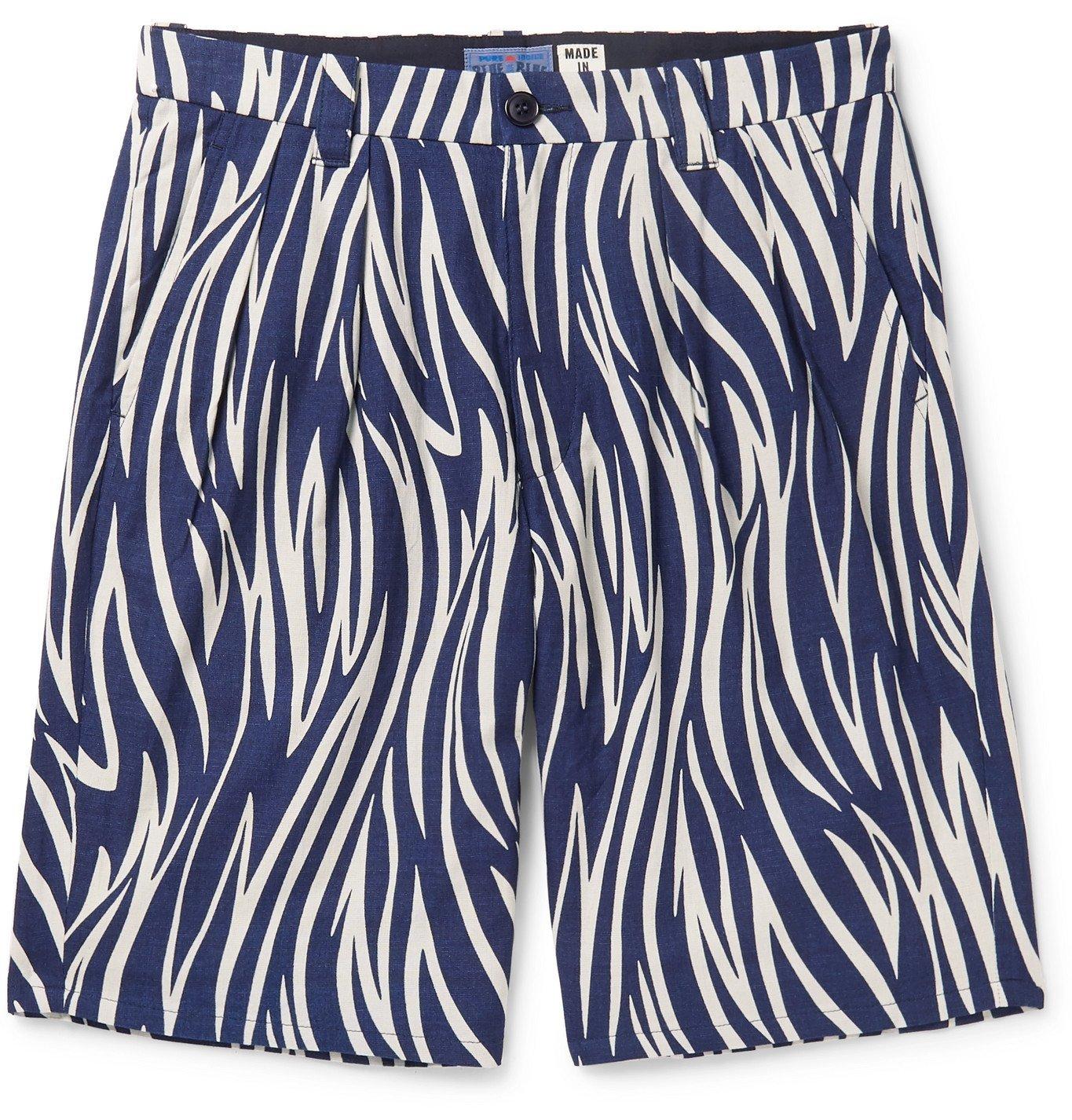 Photo: Blue Blue Japan - Indigo-Dyed Printed Cotton Shorts - Blue