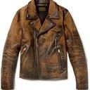 RRL - Distressed Leather Biker Jacket - Men - Brown