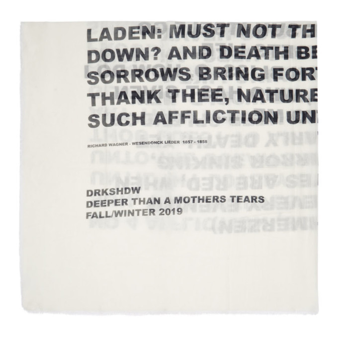 Photo: Rick Owens Drkshdw White Words Scarf