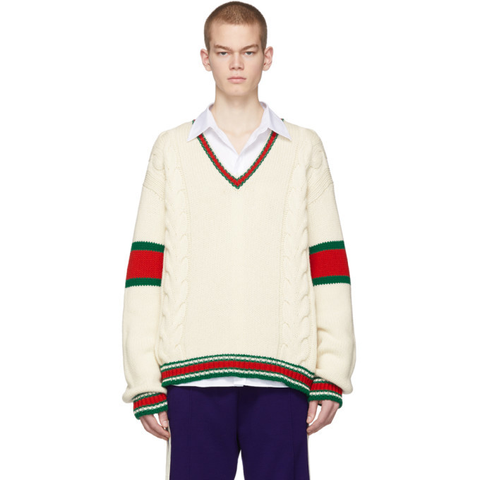 Photo: Gucci Off-White Cable Knit V-Neck Sweater