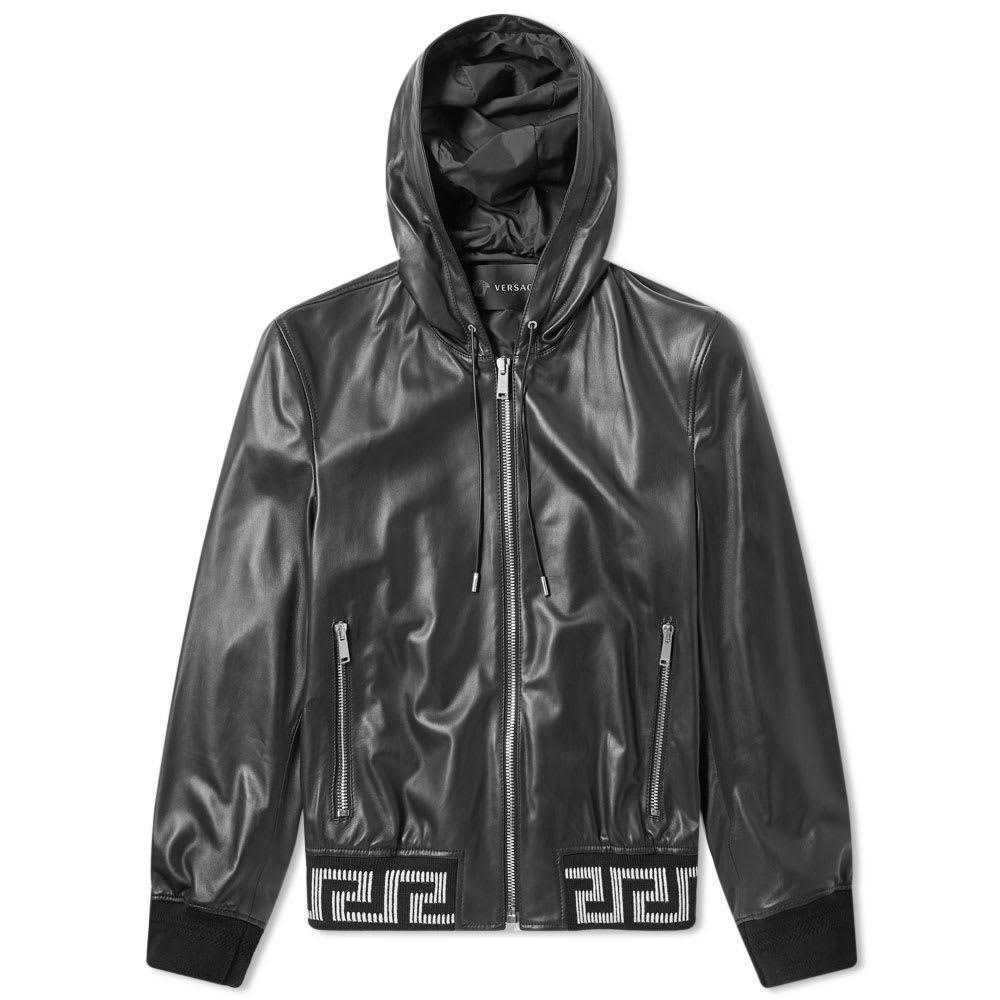 Photo: Versace Hooded Greek Rib Leather Jacket