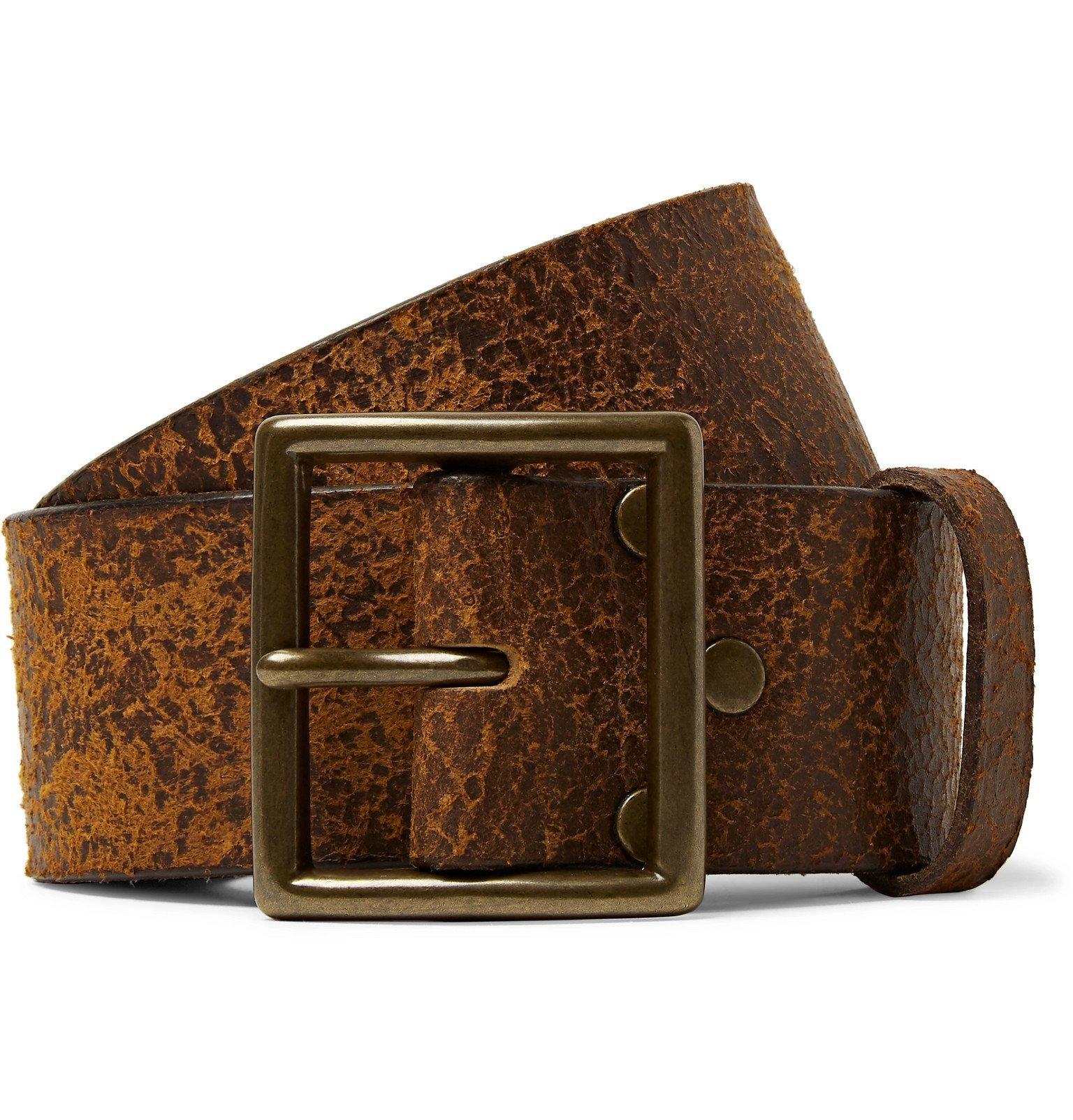 RRL - 4.5cm Brown Jones Distressed Leather Belt - Brown