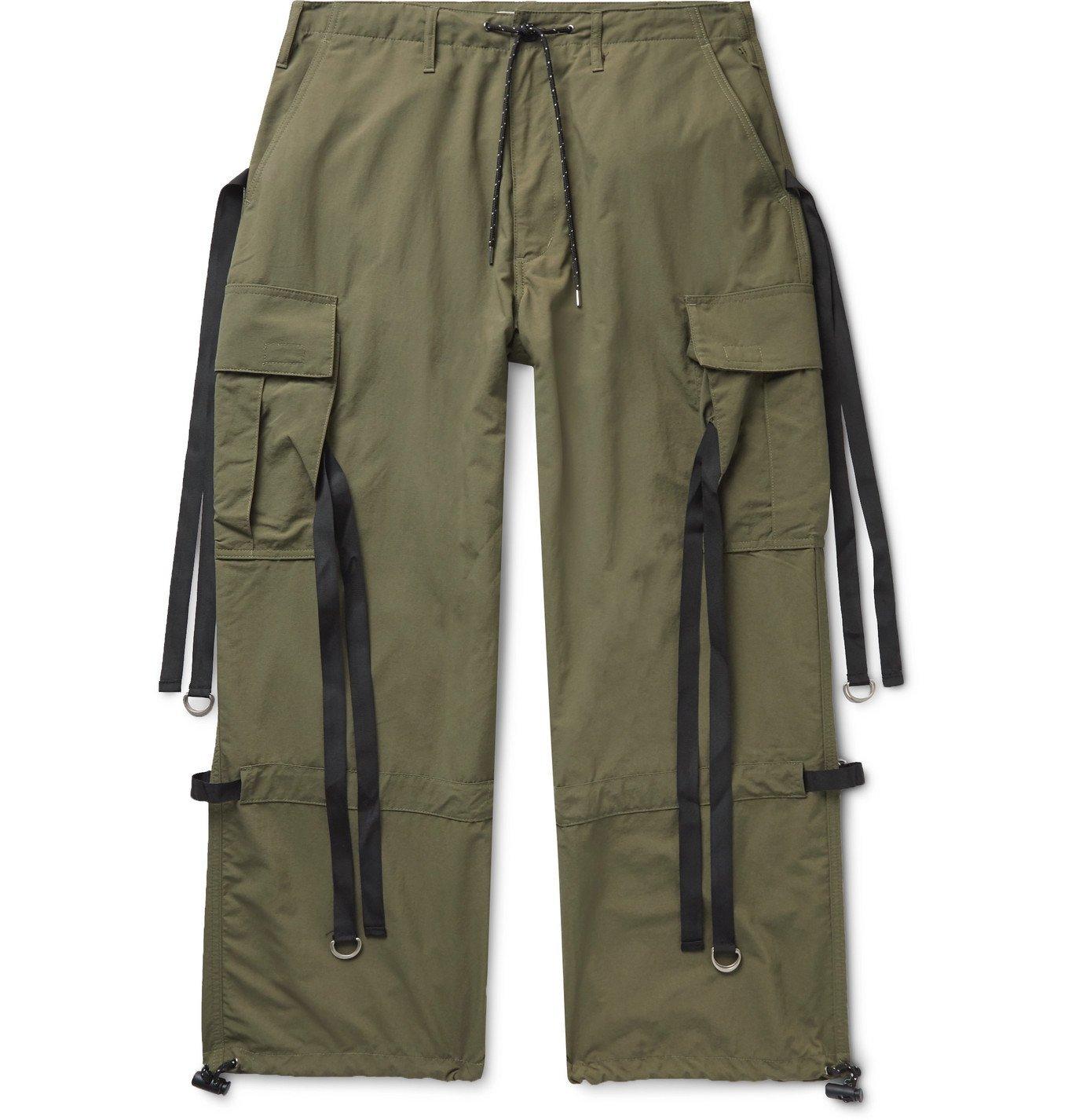 Photo: Flagstuff - Wide-Leg Webbing-Trimmed Ripstop Cargo Trousers - Green