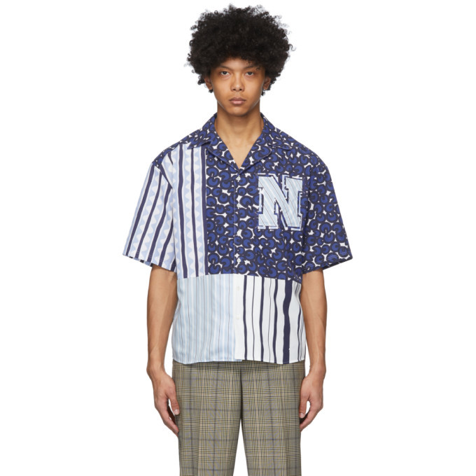 Photo: Neil Barrett Blue and Black Artist Print Short Sleeve Shirt