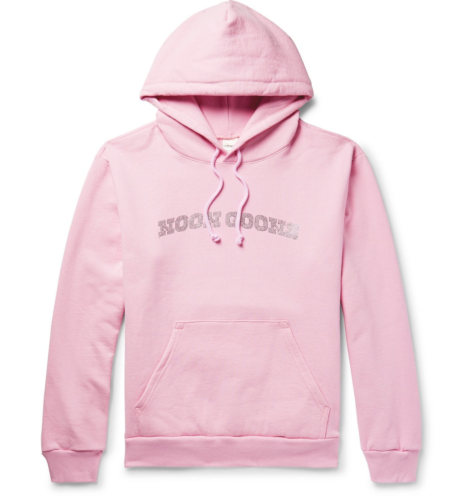 Photo: Noon Goons - Logo-Embellished Fleece-Back Cotton-Jersey Hoodie - Pink