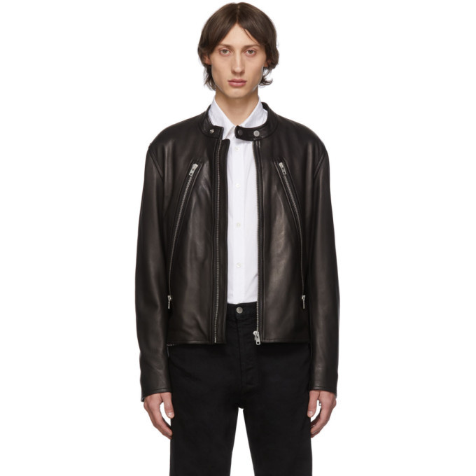 Photo: Maison Margiela Black Leather 5-Zip Sports Jacket