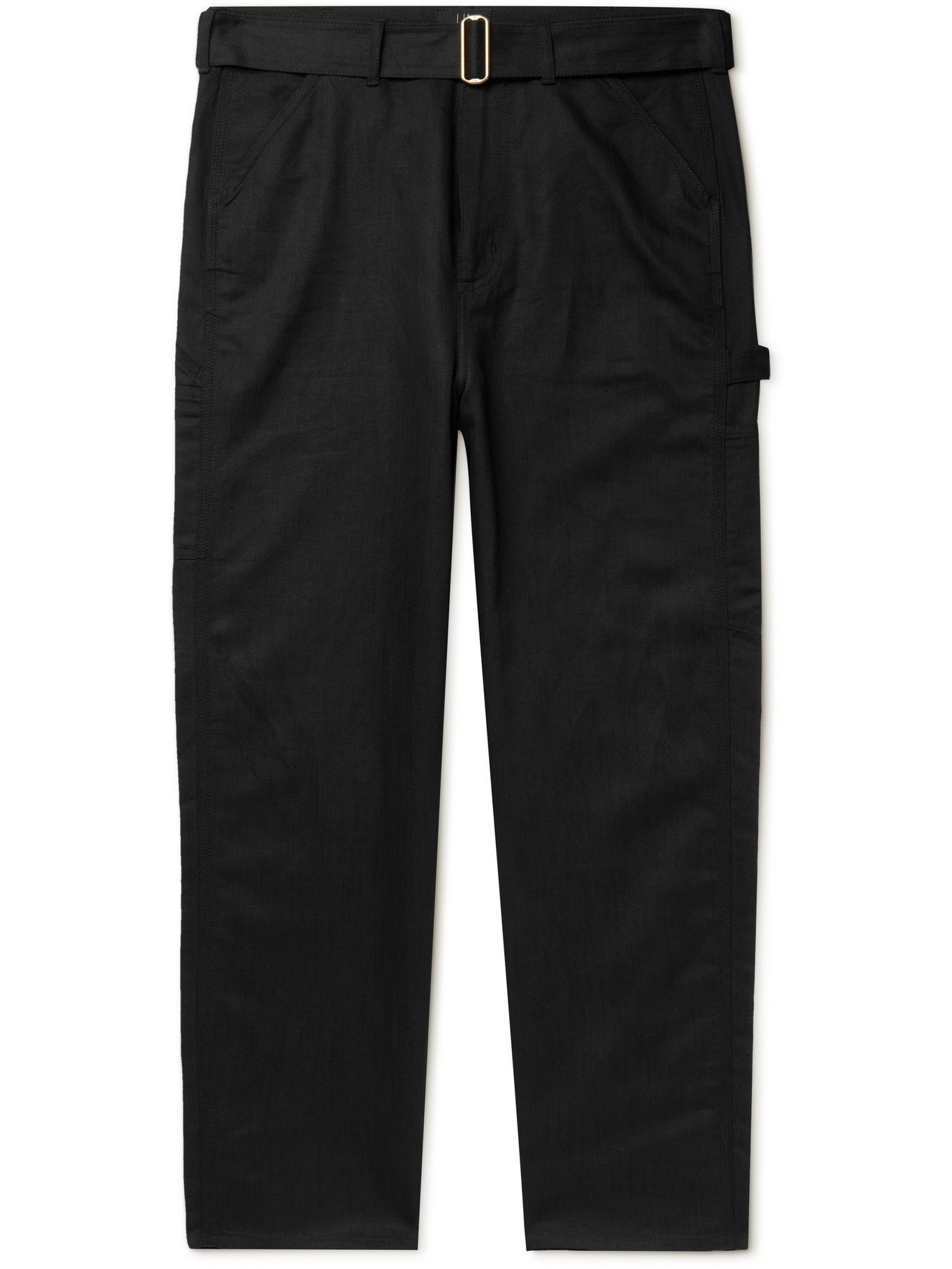 Photo: DUNHILL - Belted Linen-Blend Trousers - Black