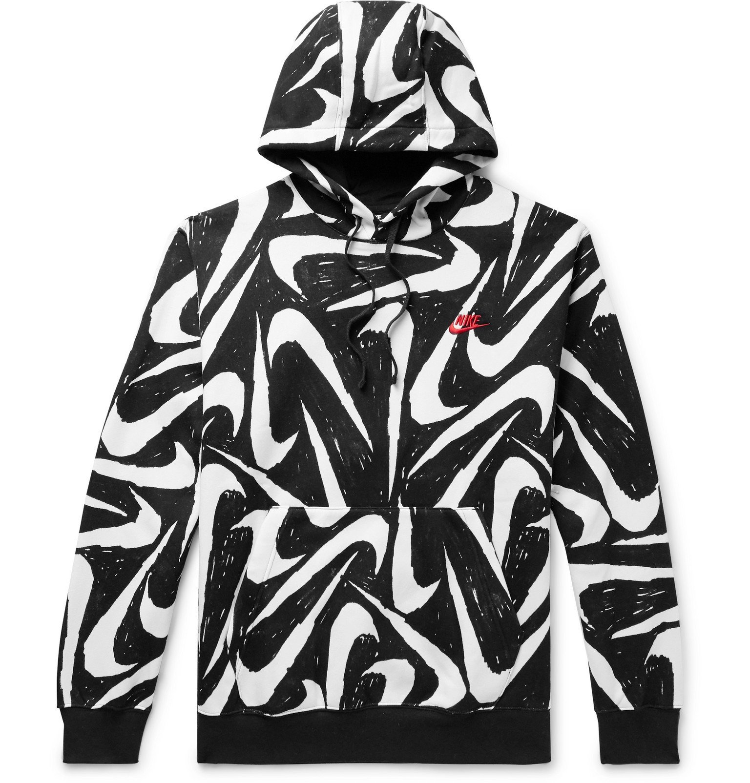 Photo: Nike - Sportswear Club Printed Fleece-Back Cotton-Blend Jersey Hoodie - Black