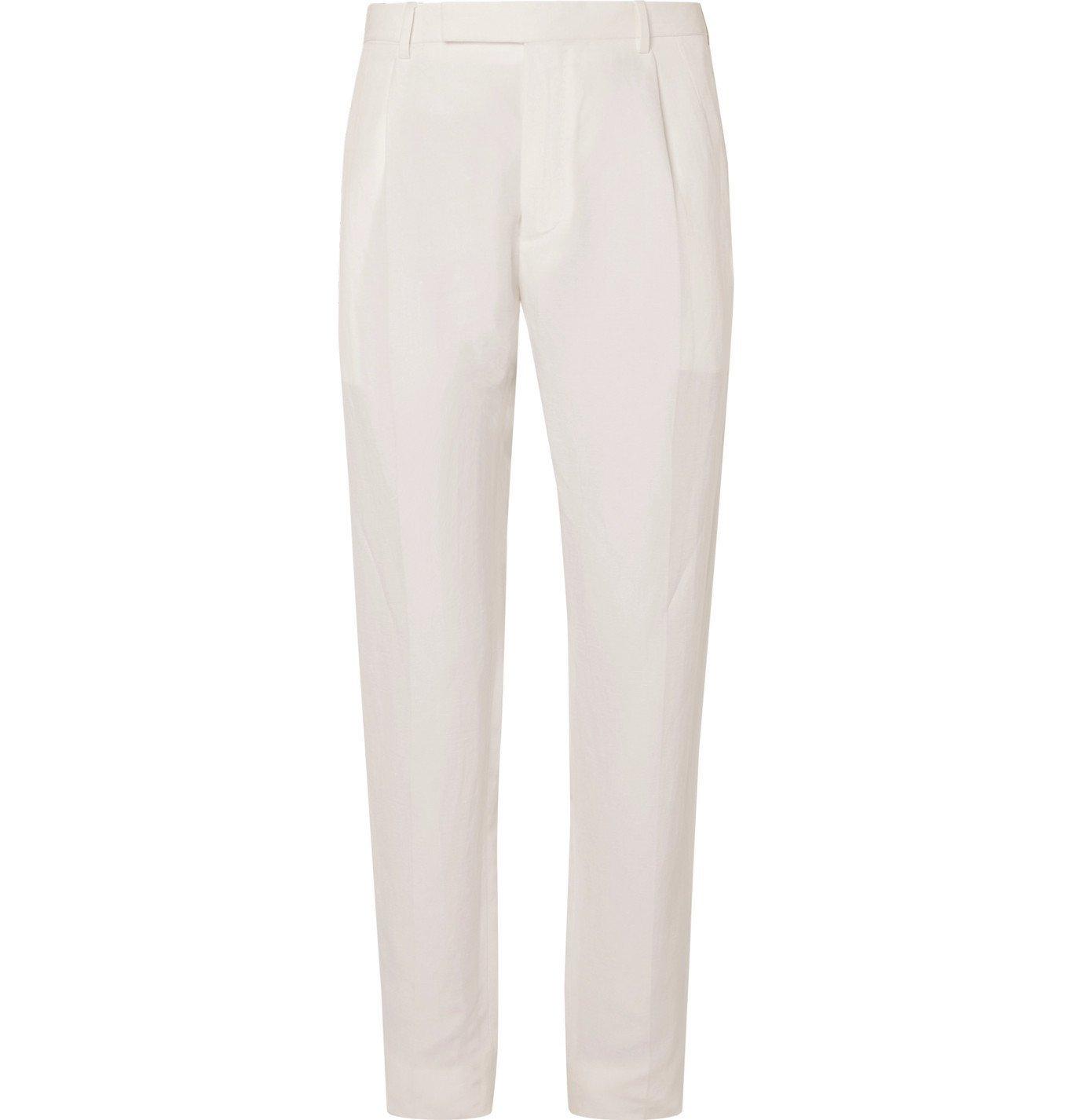 Photo: Ermenegildo Zegna - Linen and Silk-Blend Trousers - Neutrals