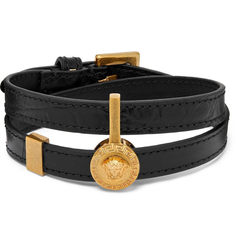 Photo: Versace - Croc-Effect Leather and Gold-Tone Wrap Bracelet - Black