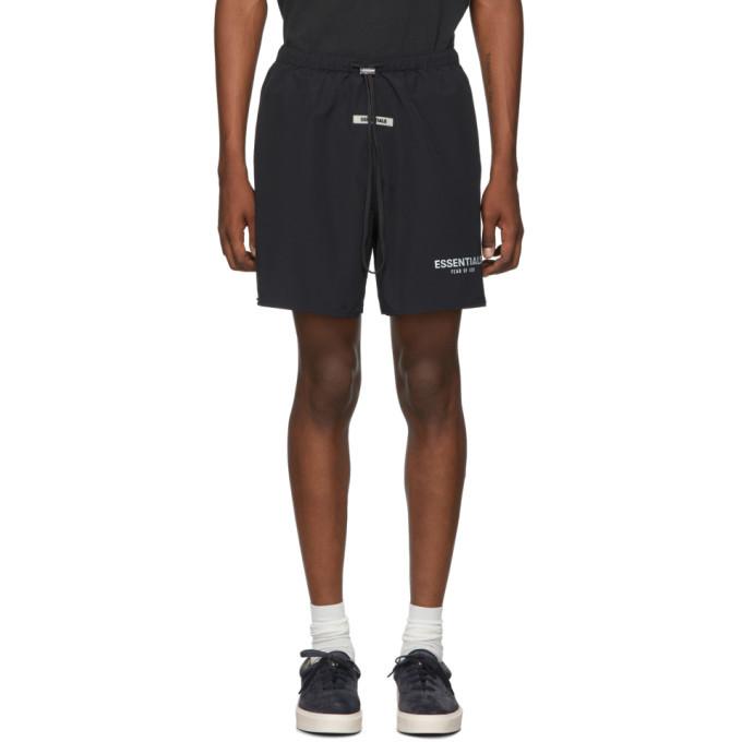 Photo: Essentials Black Reflective Nylon Shorts