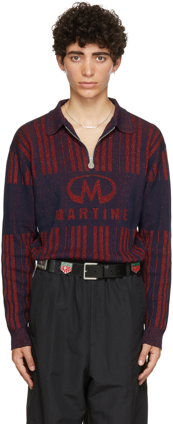 Photo: Martine Rose Red & Navy Prysm Long Sleeve Polo