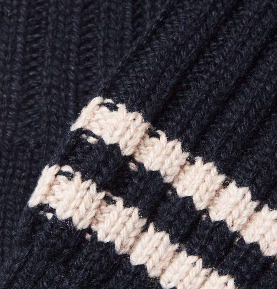 The Elder Statesman - Yosemite Striped Ribbed Cashmere Socks - Navy