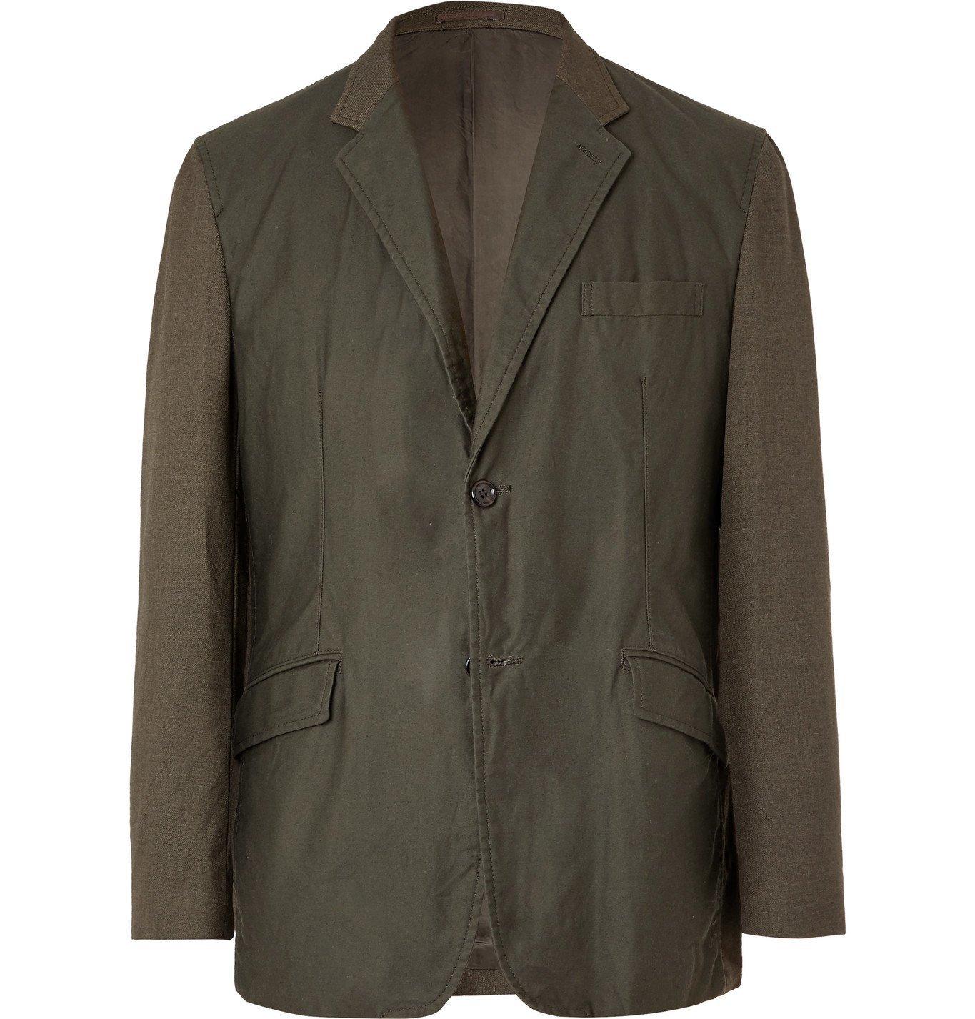 Photo: Comme des Garçons HOMME - Panelled Cotton-Twill and Wool-Blend Blazer - Green
