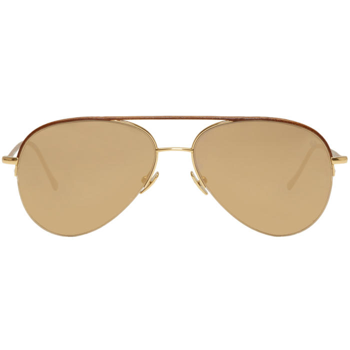 Photo: Belstaff Gold and Brown Phoenix Aviator Sunglasses