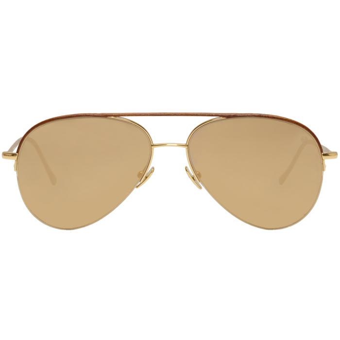 Belstaff Gold and Brown Phoenix Aviator Sunglasses