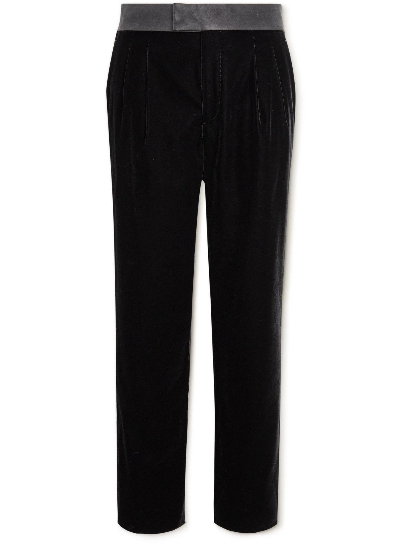 Photo: Giorgio Armani - Satin-Trimmed Velvet Tuxedo Trousers - Black
